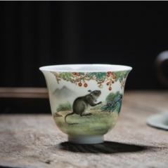 十二生肖-粉彩鼠兆丰年杯
