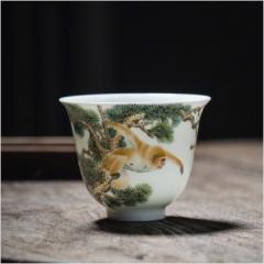 十二生肖-粉彩金猴献寿杯