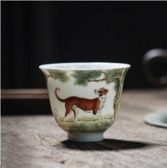 十二生肖-粉彩福犬旺财杯
