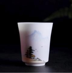 薄胎远山—雁手绘瓷器单杯